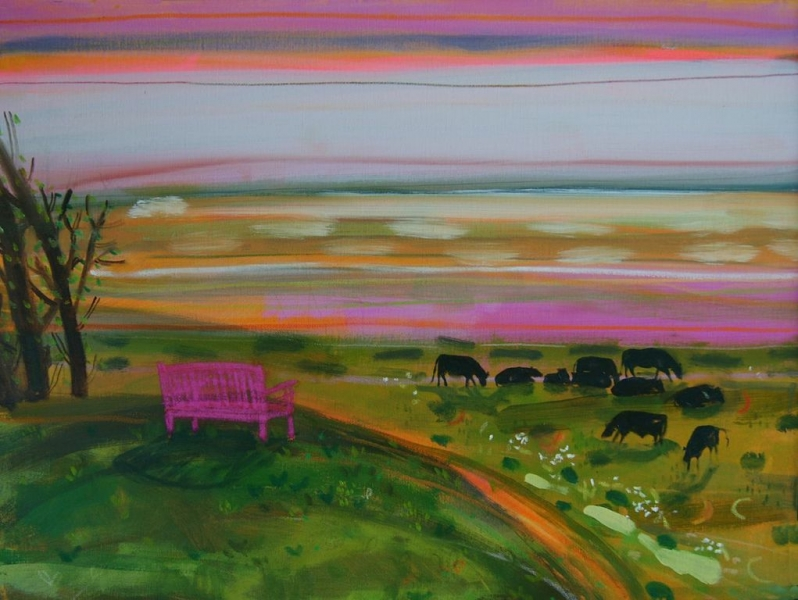Cows Over the Marsh Wiveton by Kate Lowe