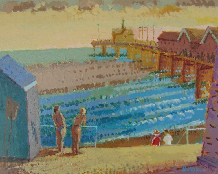 Southworld Pier (Acrylic on board) by Ronald Hellen
