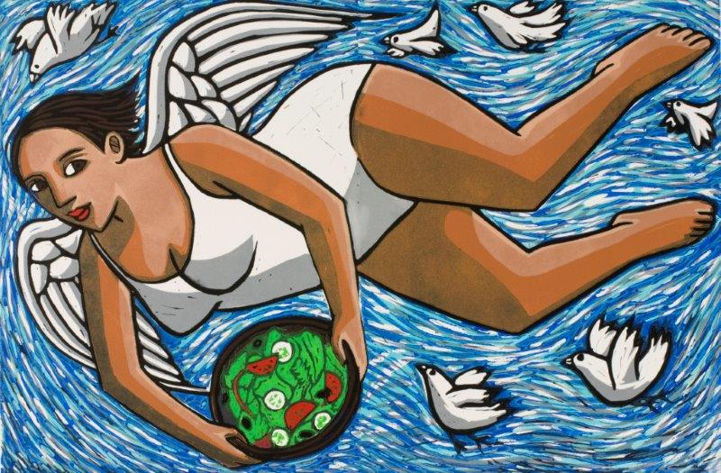Angel Bringing Salad