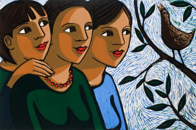 Mother and Daughters with Bird