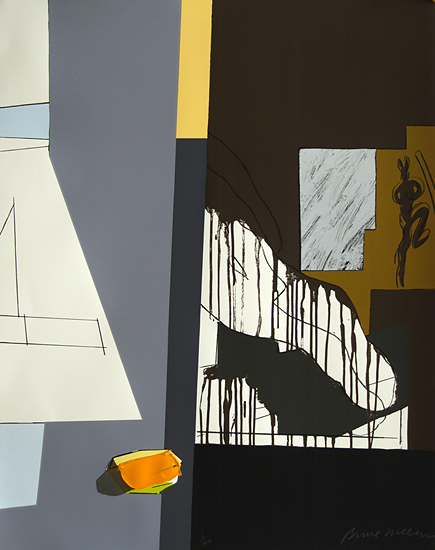 A peeled and carefully golden wonder sculpture against a 2 grey background by Bruce McLean (1944)