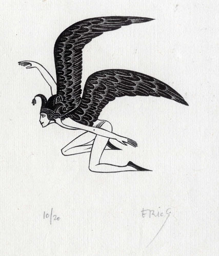 Commedy: Man trying to Fly by Eric Gill (1882 - 1940)