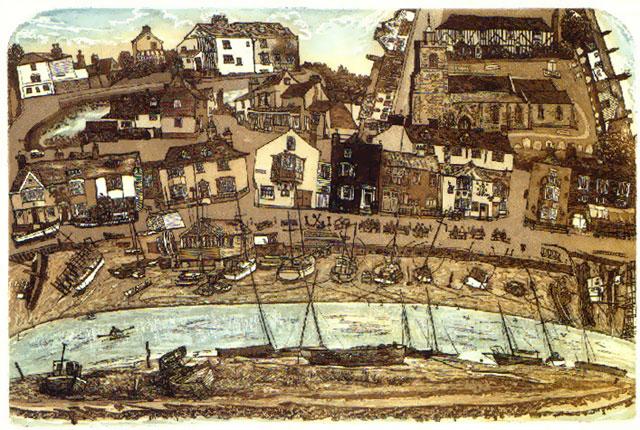 Wivenhoe Quay by Glynn Thomas  RE (1946)