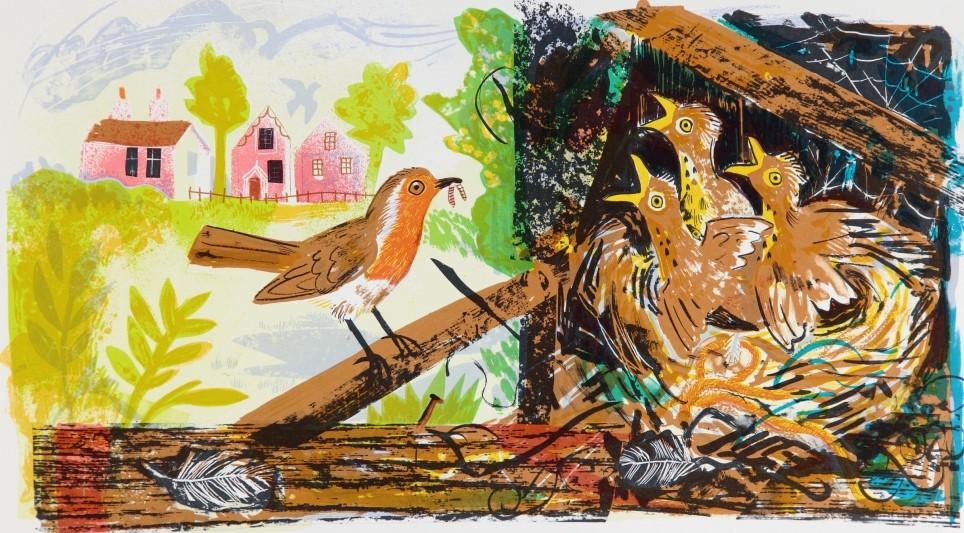 A Robin's Next by Mark Hearld (1974)